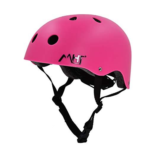 Kinderhelm für Erwachsene, Fahrradhelm, Kinderschutzausrüstung für 3-13 Jahre Verstellbarer Helm für Jungen und Mädchen, geeignet zum Radfahren, Rollschuhlaufen, Rafting, Bergsteigen usw.-pink-S