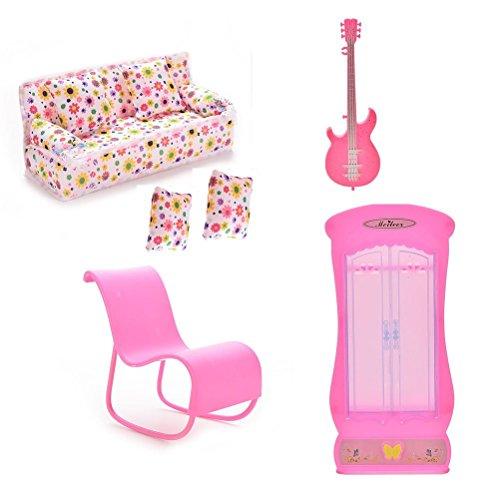 Xiton CoscosX Barbie Möbelzubehör von 1PC Couch, 2ST Kissen, 1PC Gitarre, 1PC Schaukelstuhl (rosa oder weiß zufällig), 1PC Kleiderschrank für Barbie-Puppen