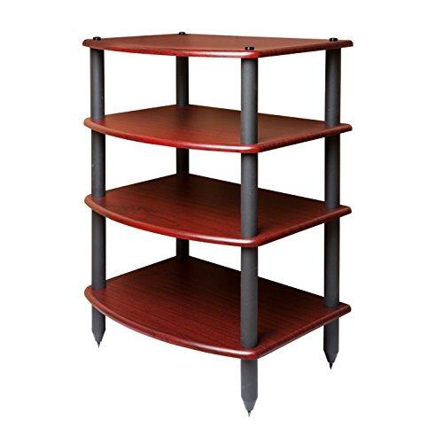 Pangea Audio Vulcan Four Shelf Audio Rack (Rosenut) Media Stand, and Components Cabinet