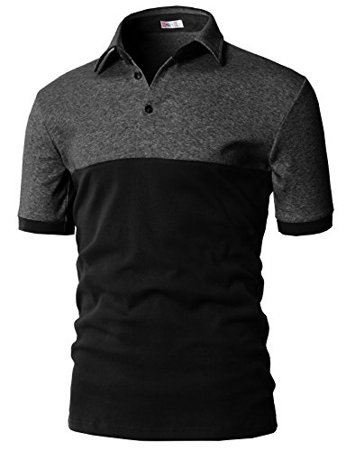 H2H Mens Casual Color Block Point Short Sleeve Cotton Polo T-Shirts Top Charcoal US 3XL/Asia 4XL (KMTTS0554)