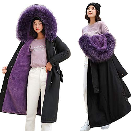JOYKK dames winterjas dikke mantel parka warm kleur contrast jas met capuchon outwear