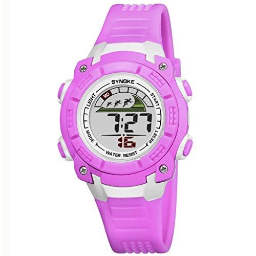 子供腕時計防水led デジタル表示ライト付き アラーム ストップウォッチ機能 12/24時刻切替え多機能スポーツ腕時計 (パープル)