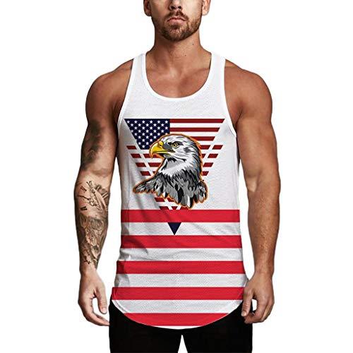 SHOBDW 2020 Camisetas Sin Mangas Hombre Fitness Playa de Verano Camisetas Hombre Tirantes Abanderado Running Día de la Independencia Transpirable Blusas Tops Baratas(Blanco,XXL)