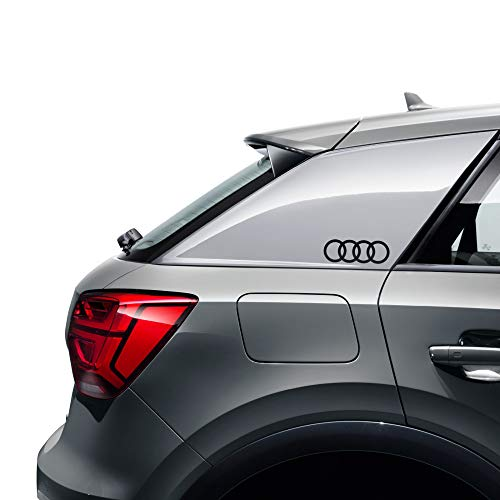 Audi 8W0064317E - Lámina decorativa con emblema, diseño de anillos, color negro