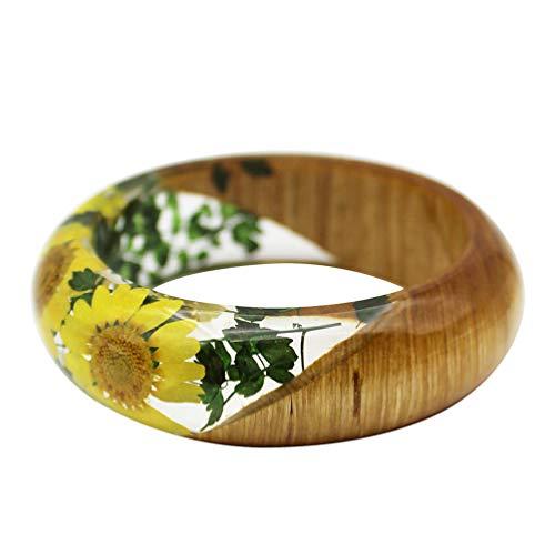 Happyyami Harz Armband Armreif Harz Holz Transparent Getrocknete Gepresste Blume Schmuck Armband für Damen Frauen Mädchen