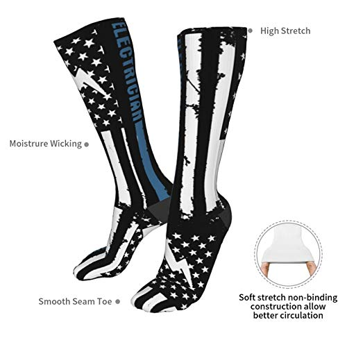 Product Image 4: Crew Socks Calf Socks Electrician With American Flag Casual Athletic Warm Thick Moisture Wicking Breathable for Men Sock