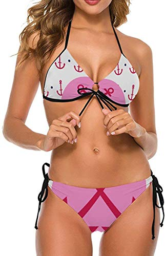 my cat Bikini 2-teiliges Set/Umweltfreundliches Bademoden-Geschenkset Bikini - Dreieck-Set Weißer Punkt Koralle Orange Tropische Pflanze-Pink6-Klein