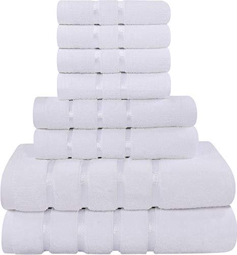 Utopia Towels - Juego de Toallas Blancas 8 - Pieza, Toallas de Rayas de Viscosa - 600 gsm algodón Ring Spun - Toallas de Alta absorción (Paquete de 8)