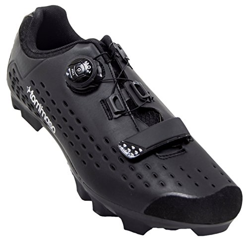 Tommaso Montagna Elite Men's Mountain MTB Cycling Shoe with Quick Lace Compatible with SPD Cleats Black - 40