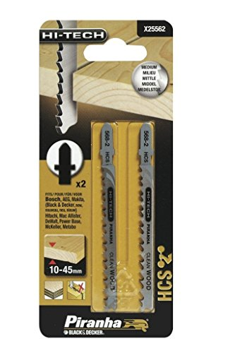 Black+Decker X25562-XJ - 2 Hojas HCS para corte en madera vástago en T 75...