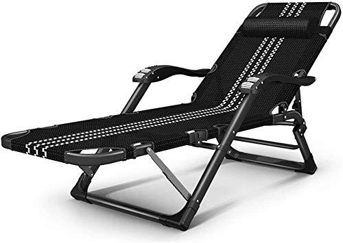 ZYLHC Sillas reclinables al Aire Libre Plegable Ajustable Silla de salón multifunción 15 velocidades Cama Plegable al Aire Libre Playa Silla de jardín Portable Office (Color : Black+Cotton Pad)