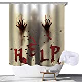 weelcc Halloween Shower Curtain with Hooks,Help Me with Bloody Hands for Halloween Themed Bathroom Decorations(71inch×71inch)