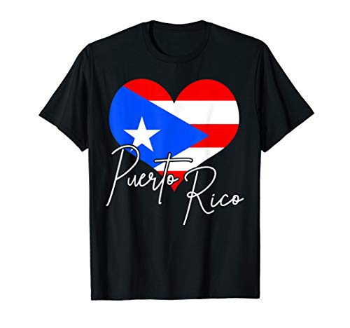 Puerto Rico Flag Heart Proud Puerto Rican Pride Gift T-Shirt