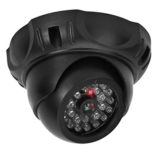 Cámara de Seguridad ficticia, cámara Falsa para Interiores y Exteriores Cámaras de vigilancia de Domo simulado con luz LED roja Intermitente (sin batería)