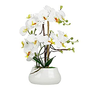 LIVILAN Faux Orchid Flowers Large Fake White Orchid Artificial Flowers with Pot Silk Orchids Plant Orquidea Artificial Phalaenopsis Orchid with Ceramic Grey Vase Indoor Decor Table Decoration
