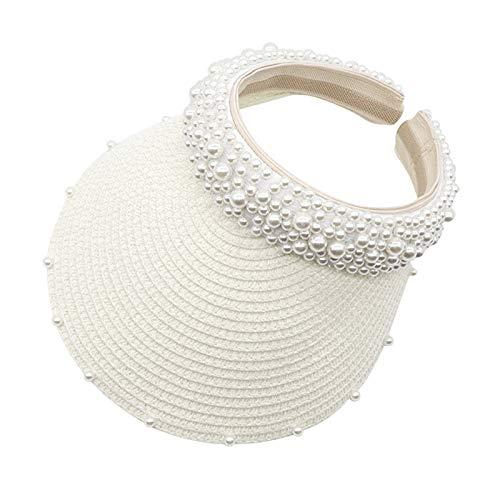 Vobery Sombrero de perlas para mujer, con protección solar, para el sol, hueco, color blanco
