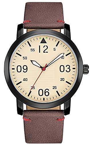 KDM Reloj Hombre Minimalista Ultra Fino para Hombre Lujo Moda Relojes de Pulsera para Hombres Vestir Casual Impermeable Reloj de Cuarzo para Hombre Café