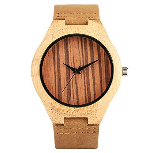 DZNOY Reloj de madera casual de bambú/correa de cuero reloj de pulsera para hombre único con esfera de rayas relojes de madera de bambú relojes masculinos reloj de bolsillo (color: correa de cuero)
