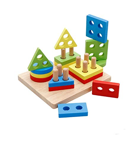 DalosDream Wooden Educational Preschool Toddler Toys for 1 2 3 45 Year Old Boys Girls Gifts Shape Color Recognition Geometric Board Blocks Stack Sort Chunky Puzzles Kids Baby Non-Toxic Toy