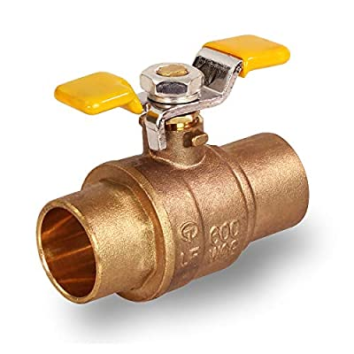 Midline Valve 837C256-NL Premium Full Port Ball Valve with T-Handle Brass, x 3/4 in. SWT, 3/4 in. Sweat x 3/4 in. Sweat from Midline Valves