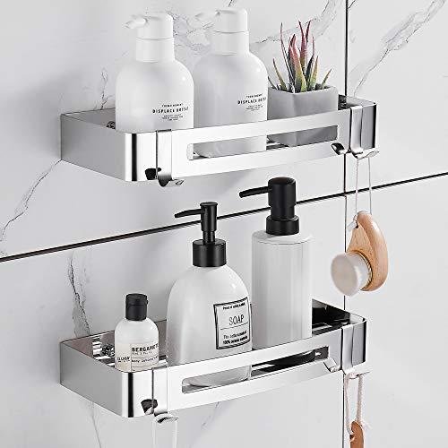 Hoomtaook Duschablage Badezimmer Duschwand Duschregal, Ohne Bohren Keine Beschädigung an Wandhalterung, für Badezimmer- und Küchenzubehör 2 Stück