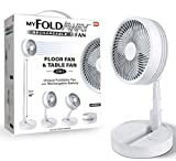 Bell+Howell My Foldaway Fan Rechargeable Fan Ultra Lightweight Portable Compact Extendable to 4 Feet High with 3 Speed Modes As Seen On TV