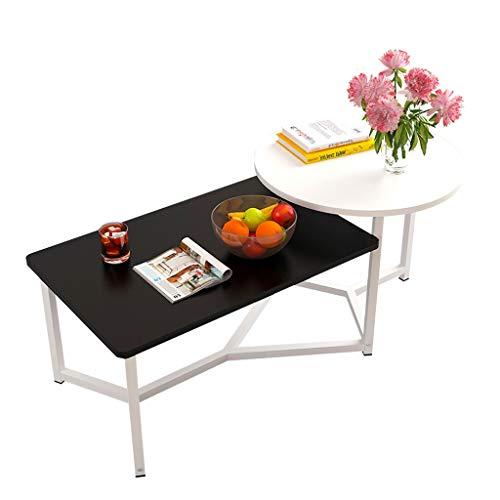 XWF Tavolini da Salotto Pannello Combinazione 2 in 1 Soggiorno Tavolini a Base di Legno Mobili Round Two-Tone Tea Tavolo Robusto End Table Comodini (Color : White Black)