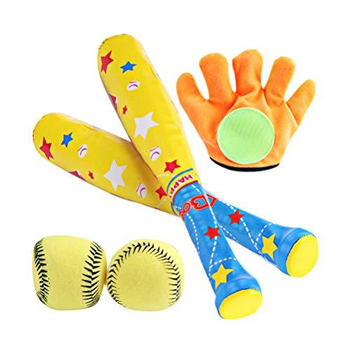 BESPORTBLE 1 Satz Kinder Baseball Kit Fledermaus Klettverschluss 4 Stück Abs Handschuh 2 Stück Baseball T Ball Set Spielzeug Fledermaus Spielzeug Kinder Üben im Freien