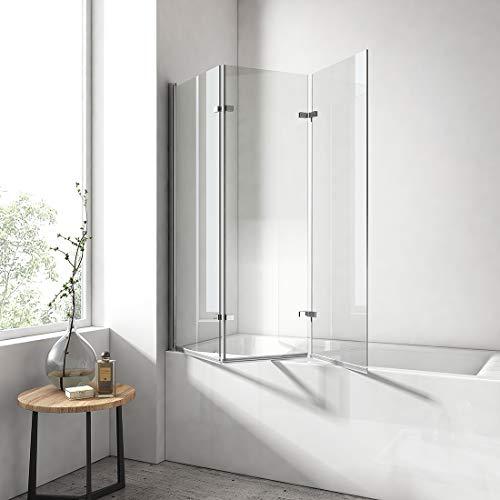 EMKE 130x140cm Badewanne Duschwand 3-teilig faltbar mit NANO einfach-Reinigung Beschichtung Faltwand 6mm Sicherheitsglas