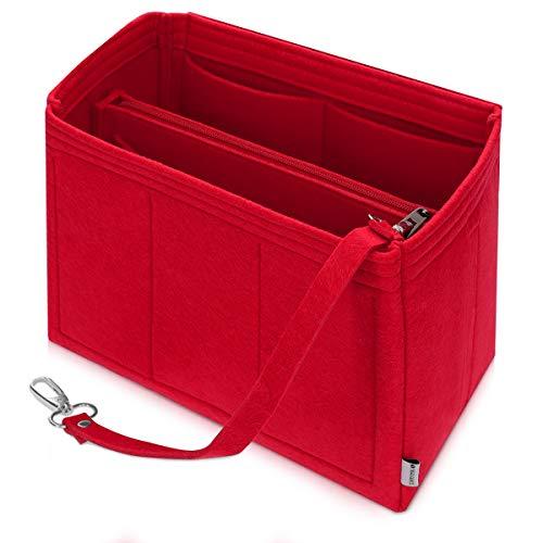 Navaris Taschenorganizer Filz Organizer für Handtaschen - 29,9 x 20,8 x 16,7 cm Organisator für Tasche - Zubehör für Handtasche Rucksack - Rot