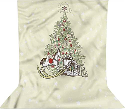 Fondo de fotografía de 1,2 x 1,8 m, árbol con caballo mecedor de microfibra de tela de forro polar de telón, con bolsillo para barra (solo telón de fondo) para cumpleaños, bodas, fiestas temáticas