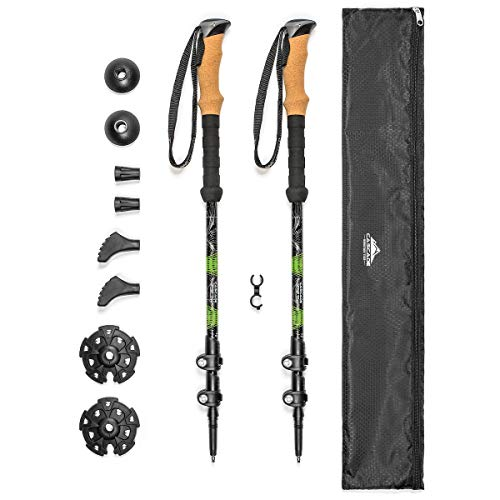 Cascade Mountain Tech Aluminum Adjustable Trekking Poles - Lightweight Quick Lock Walking Or Hiking Stick - 1 Set (2 Poles), Cork Grip