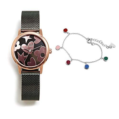 Juego Agatha Ruiz de la Prada reloj AGR252 verde acero pulsera plata Ley 925m discos colores esmalte - Modelo: AGR252