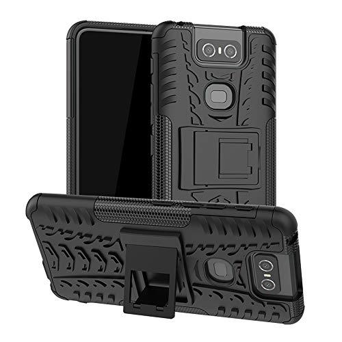 LFDZ ASUS Zenfone 6 ZS630KL Custodia, Resistente alle Cadute Armatura Robusta Custodia Shockproof Protective Case Cover per ASUS Zenfone 6 ZS630KL / Zenfone 6Z ZS630KL Smartphone,Nero