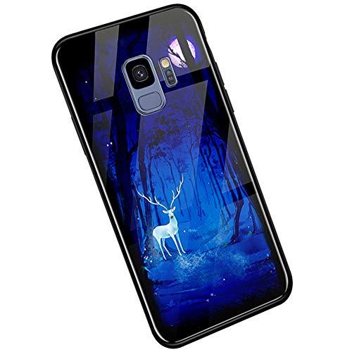 Handyhülle Kompatibel mit Samsung Galaxy S9 Hülle, Ysimee Bunte Gemalt [Leuchtend Luminous] Handyhülle Gehärtetes Glas Rückseite und TPU Hülle Case Ultra Dünn Kratzfeste Schutzhülle, Hirsch Wald