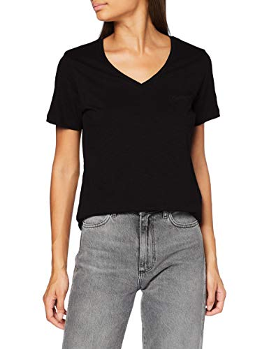 Superdry Scripted V Neck Tee T-Shirt, Noir, M (Taille Fabricant:12) Femme