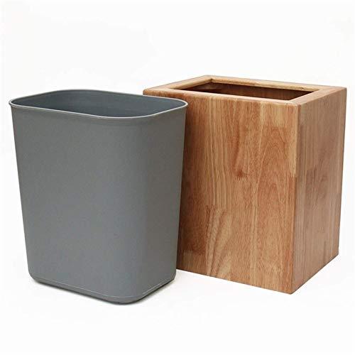 SXXYTCWL Capacidad de Papel de Basura Capacidad de Material de Madera Maciza 6L Diseño de Doble Barril fácil de Limpiar sin Cubierta Cuadrado Familia Cocina Cocina Sala de Estar Dormitorio jianyou