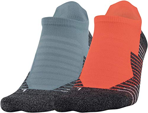 Under Armour Adult Run No Show Tab Socks, 2-Pairs , Beta/Lichen Blue , Shoe Size: Men 8-12; Women: 9-12