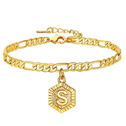 Pulseiras de tornozelo A-Z monograma U7 para mulheres, masculino, banhado a ouro 18 K, corrente Fígaro de 4,5 mm, inicial na tornozeleira, bracelete com alfabeto, joia com extensor de 5 cm, com gravação personalizada, embalagem para presente medium Dourado