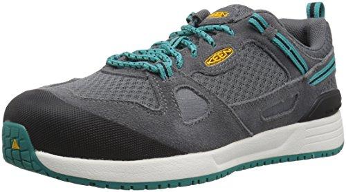 KEEN Utility Women's Springfield Low Alloy Toe Industrial Work Shoe, Steel Grey/Lake Blue, 8 Wide US