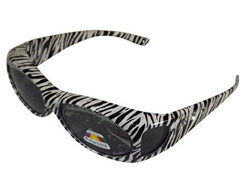 Sonnen-Überbrille Zebra mit Strass UV400 Polarisiert f. Brillenträger Polbrille