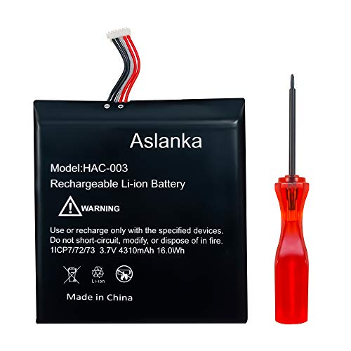 Battery for Nintendo Switch, Aslanka All New Original 4310mAh HAC-003 Battery Replacement, HAC-001 Internal Battery kit Compatible with Nintendo Switch 2017 Game Console-1 Year Warranty