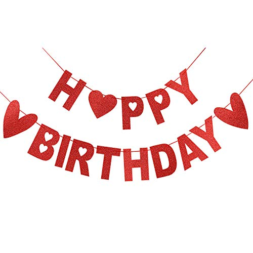 Happy Birthday Red Glittery Banner for Valentine's Day Decorations,Valentines Theme Home Indoor Birthday Party Decorations Supplies,Valentines Day Decor