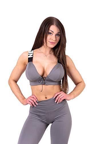Nebbia Damen Sport-BH mit Schürung Lace-up 694 Fitness Gym Bodybuilding Running Sport T-Shirt Yoga (Metal, S)