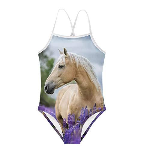 Amzbeauty Einteiliger Badeanzug für Sommer, Strand, Urlaub, 3D-Tier-Design, Geschenke für Mädchen, Kleinkinder im Alter von 2-8 Jahren Gr. 7-8 Jahre, pferd