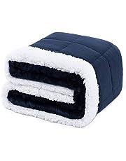 Anjee Sherpa flanellen gewogen deken voor volwassenen, 6,8 kg, 180 x 200 cm marineblauw, dubbelzijdig superzacht en pluizig fleece en Sherpa Heavy Throw Blanket, verbetert de slaap