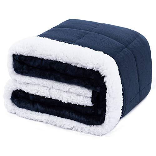 Anjee Manta ponderada de Franela Sherpa Adultos, 6.8 kg, 150 x 200 cm Azul Marino, vellón súper Suave y Esponjoso de Doble Cara y Manta de Tiro Pesado Sherpa, Mejora el sueño