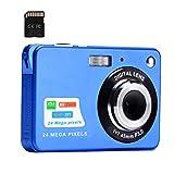 Fotocamera digitale, 2,4 pollici FHD Fotocamere tascabili Fotocamera ricaricabile da 24 MP per backpacking con zoom digitale 8X Fotocamere compatte per fotografia Scheda SD da 32 GB inclusa