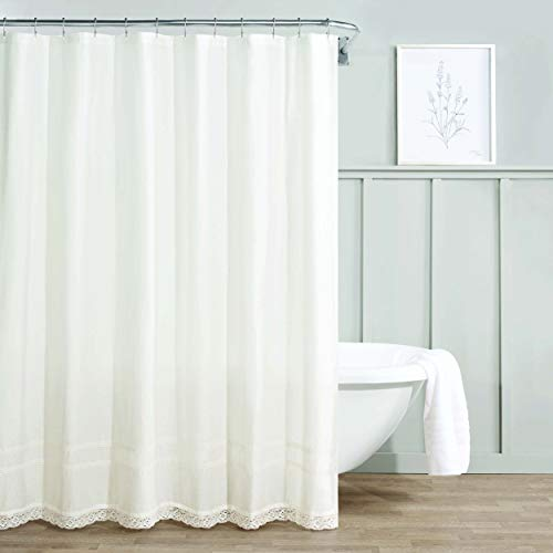 "Laura Ashley Home Annabella Shower Curtain-100% Cotton, Machine Washable Easy Care, 72"" x 72"", White"