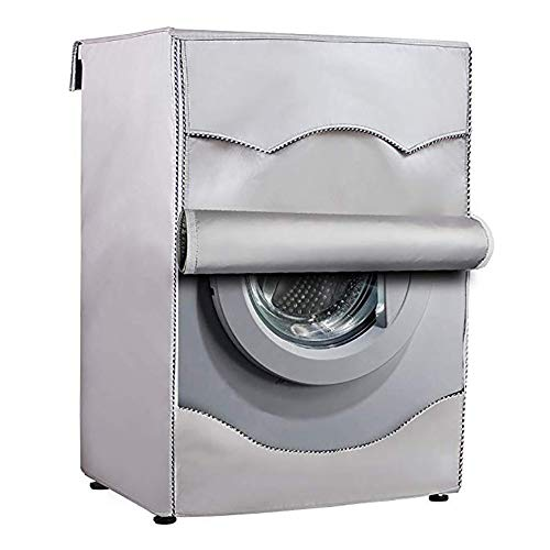 Queta Washing Machine Cover for Front Load Washer or Dryer,Washer Dryer Cover on 3 Sides,Silver Waterproof Laundry Machine Cover Fit All Weather
